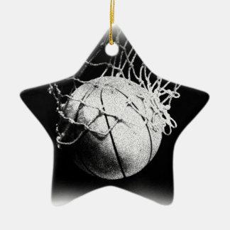 Black & White Basketball Art Ceramic Star Decoration