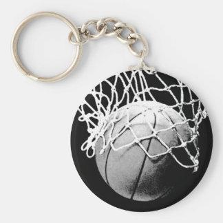Black & White Basketball Basic Round Button Key Ring