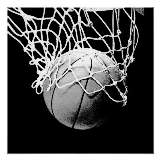 Black & White Basketball Perfect Art Poster