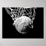 Black White Basketball Print Poster