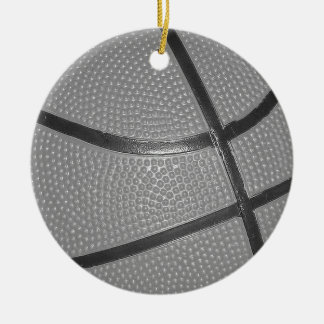 Black & White Basketball Round Ceramic Decoration