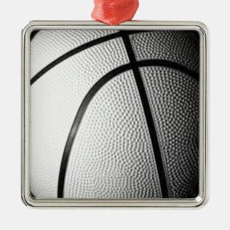 Black & White Basketball Silver-Colored Square Decoration