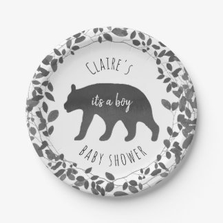 Black + White Bear Cub Foliage Baby Shower Paper Plate