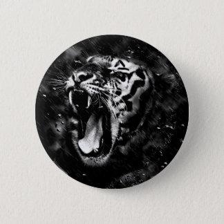 Black & White Beautiful Tiger Head Wildlife 6 Cm Round Badge