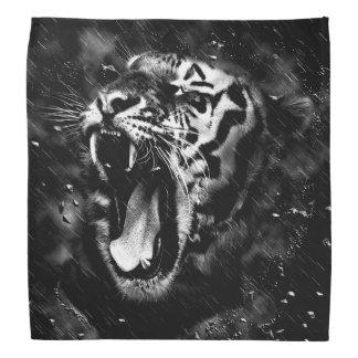 Black & White Beautiful Tiger Head Wildlife Bandana