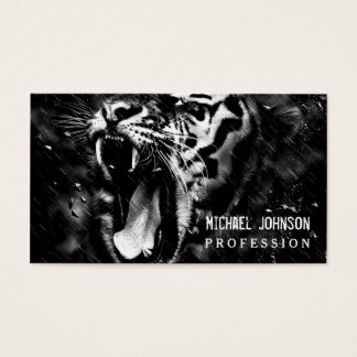 Black & White Beautiful Tiger Head Wildlife Business Card