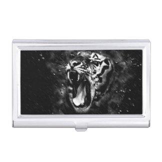 Black & White Beautiful Tiger Head Wildlife Business Card Holder