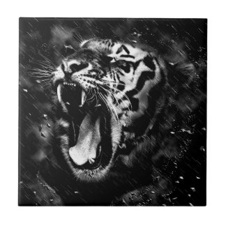 Black & White Beautiful Tiger Head Wildlife Ceramic Tile