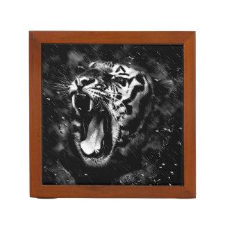 Black & White Beautiful Tiger Head Wildlife Desk Organiser