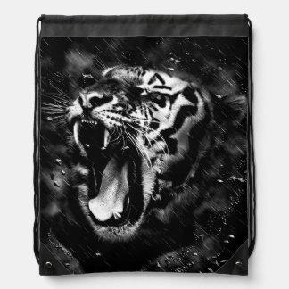 Black & White Beautiful Tiger Head Wildlife Drawstring Bag