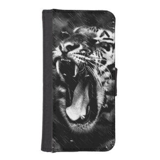 Black & White Beautiful Tiger Head Wildlife iPhone SE/5/5s Wallet Case