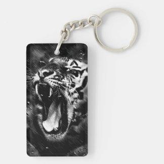Black & White Beautiful Tiger Head Wildlife Key Ring