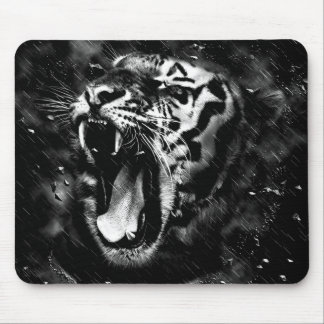 Black & White Beautiful Tiger Head Wildlife Mouse Pad