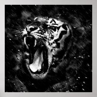 Black & White Beautiful Tiger Head Wildlife Poster