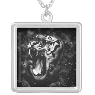 Black & White Beautiful Tiger Head Wildlife Silver Plated Necklace