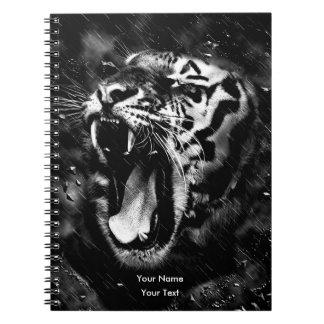 Black & White Beautiful Tiger Head Wildlife Spiral Note Books