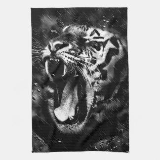 Black & White Beautiful Tiger Head Wildlife Tea Towel