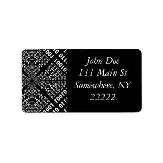 Black & White Binary Fractal Address Label