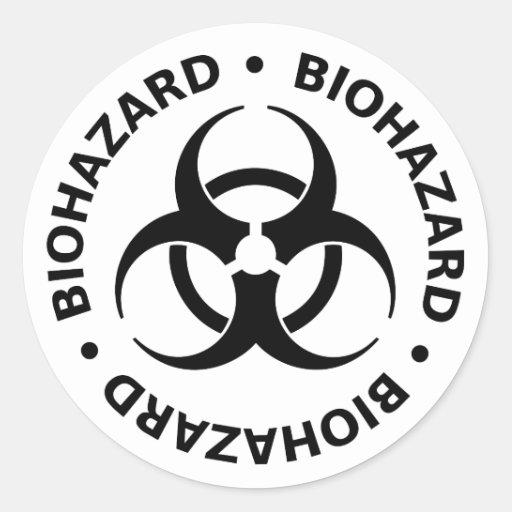 Biohazard Warning Classic Round Sticker | Zazzle