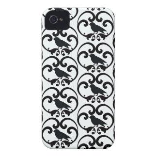 Black white bird damask pattern blackberry bold iPhone 4 case