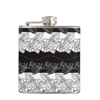 Black white birds abstract minimalistic pattern flasks