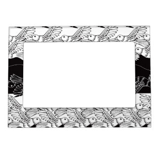 Black white birds abstract minimalistic pattern magnetic picture frames