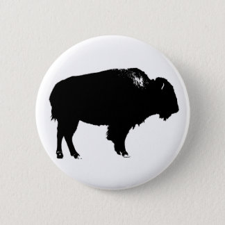 Black & White Bison Buffalo Silhouette Pop Art 6 Cm Round Badge