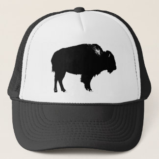 Black & White Bison Buffalo Silhouette Pop Art Cap