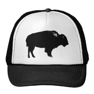 Black & White Bison Buffalo Silhouette Pop Art Cap