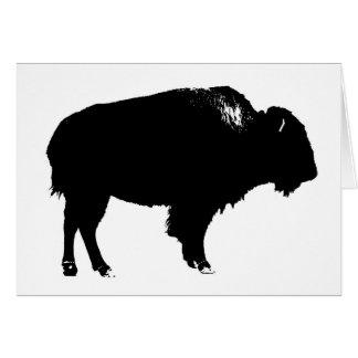 Black & White Bison Buffalo Silhouette Pop Art Card