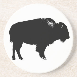 Black & White Bison Buffalo Silhouette Pop Art Coaster