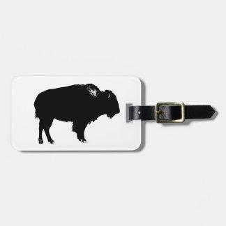 Black & White Bison Buffalo Silhouette Pop Art Luggage Tag