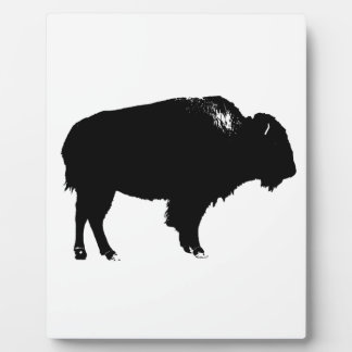 Black & White Bison Buffalo Silhouette Pop Art Plaque