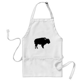 Black & White Bison Buffalo Silhouette Pop Art Standard Apron