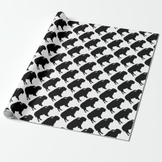 Black & White Bison Buffalo Silhouette Pop Art Wrapping Paper