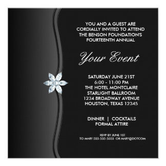 Black White Black Tie Corporate Party Event Invites