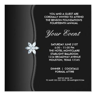 """Black White Black Tie Corporate Party Event 5.25"""" Square Invitation Card"""