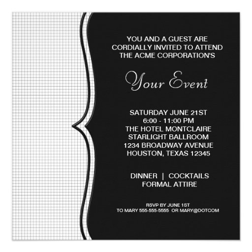 Black White Black Tie Corporate Party Event Announcement