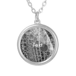 Black White Bling Pattern Round Pendant Necklace