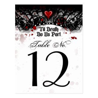 Black White Blood Splatter Til Death Table Number Postcard