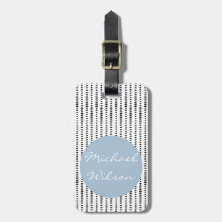 Black & White, Blue - Abstract Pattern Luggage Tag