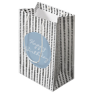 Black White Blue Abstract Print Birthday Gift Bag