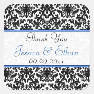 "Black White Blue Damask 1.5"" Wedding Favour Square Sticker"