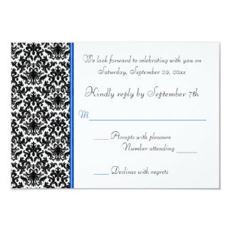 Black, White, Blue Damask RSVP Card