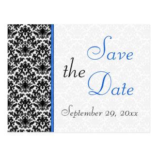 Black, White, Blue Damask Save the Date Postcard