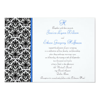 Black, White, Blue Damask Wedding Invitation