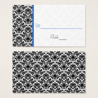 Black, White, Blue Damask Wedding Place Card