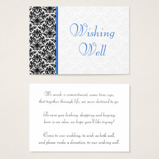 Black, White, Blue Damask Wedding Wishing Well Business Card