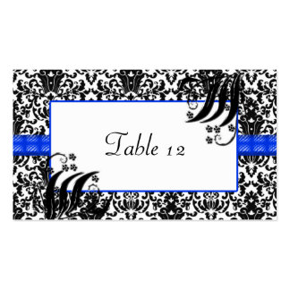 Black, White, & Blue Floral Damask Business Card Templates
