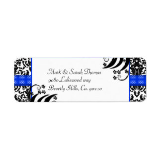 Black, White, & Blue Floral Damask Return Address Label